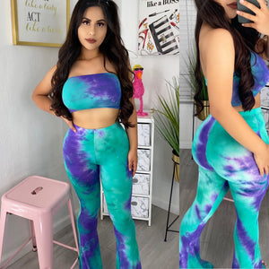 Green/purple tie dye flare set