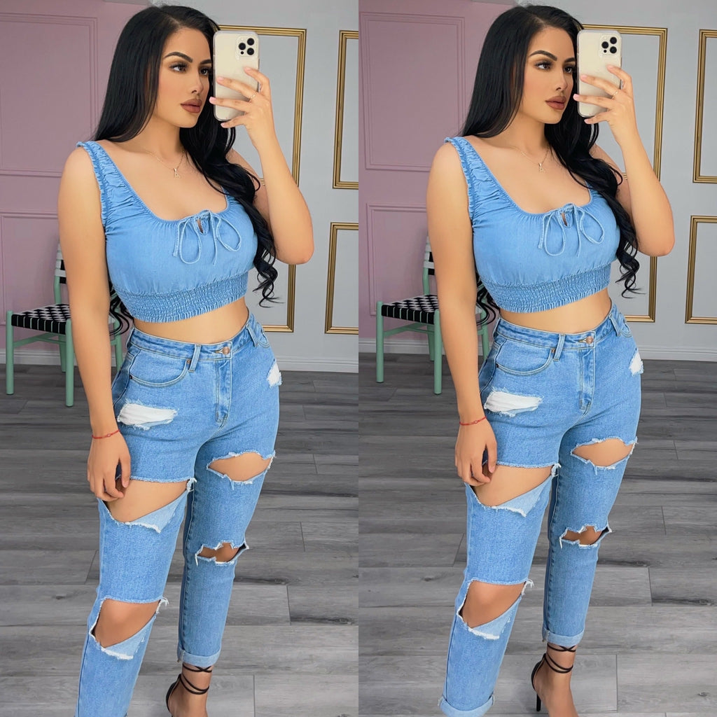 Little denim crop top