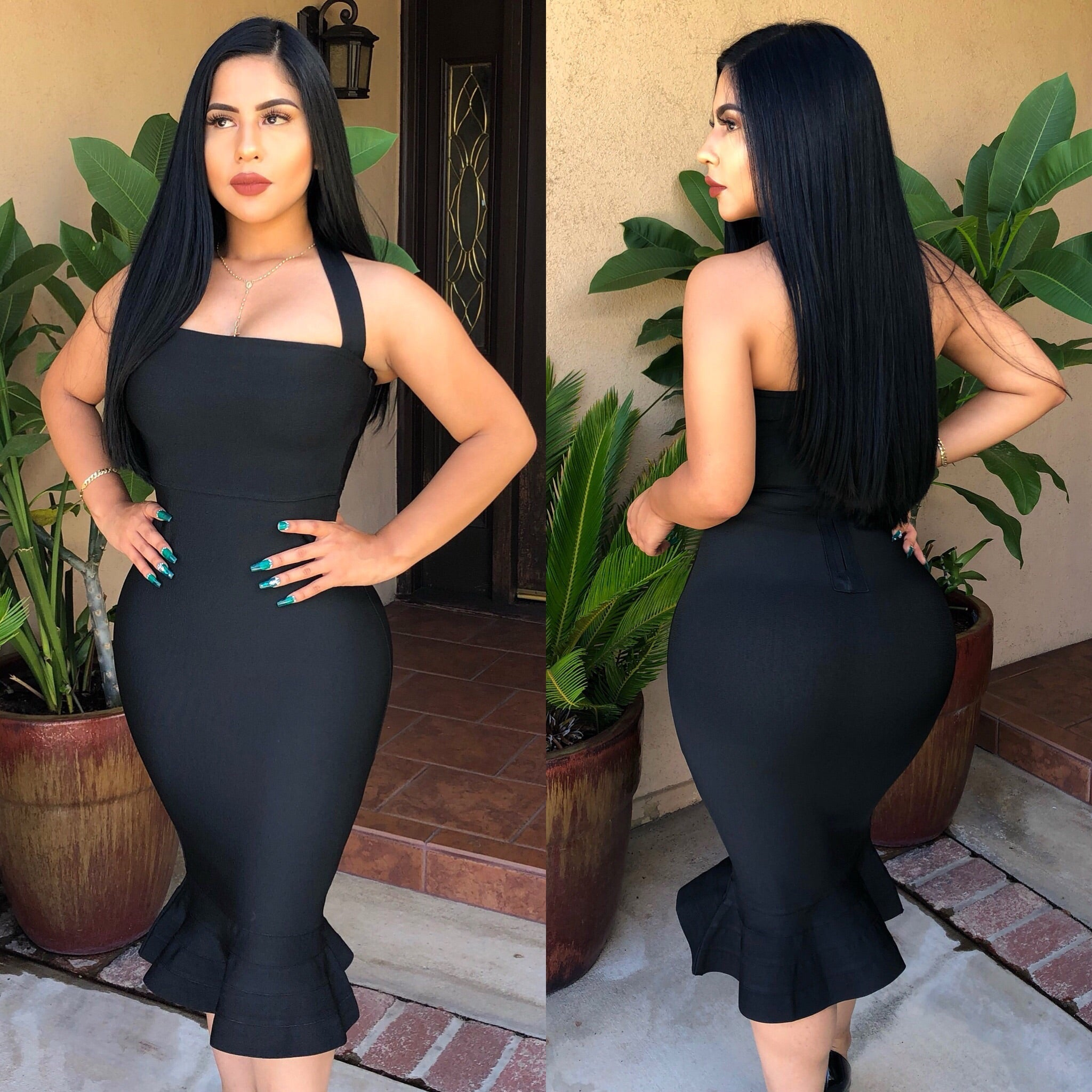 Mermaid bandage dress-black
