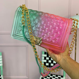 Green/pink jelly bag