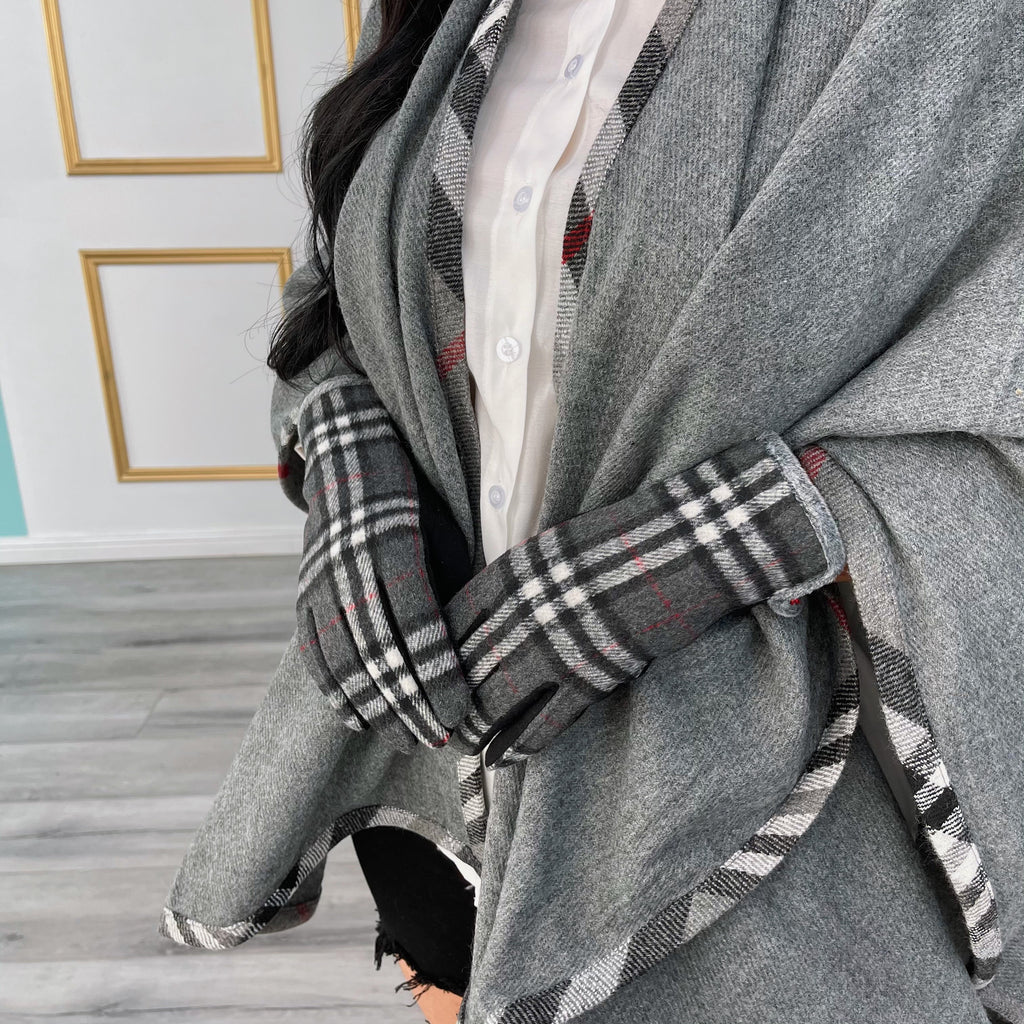 Plaid cozy gloves