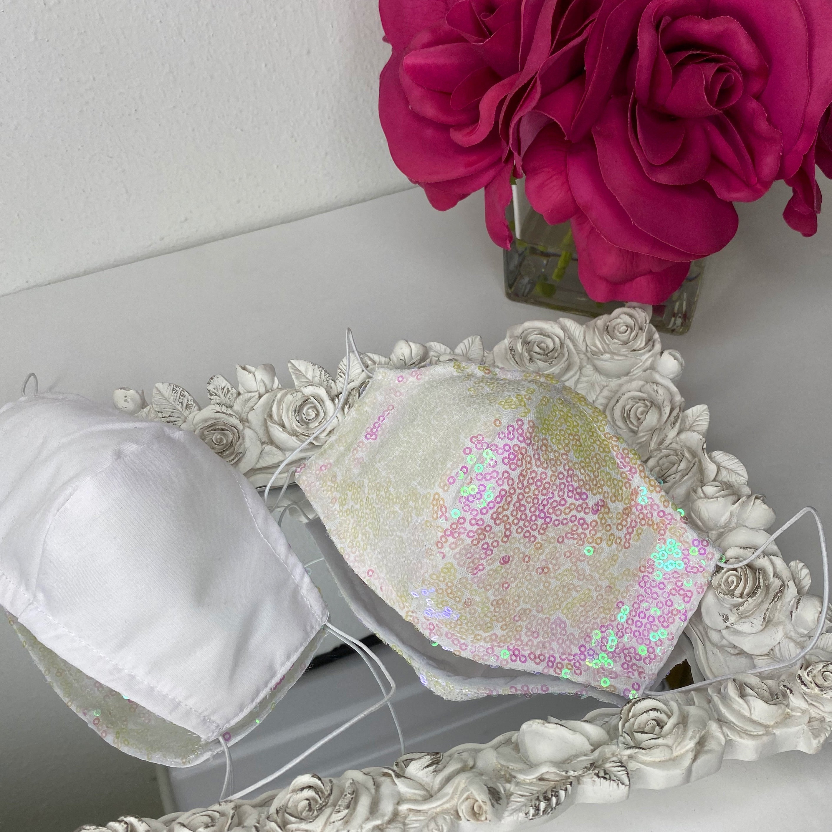 White/pink sequin Reversible mask with filter