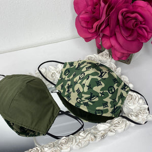 Green camouflage loui Reversible mask with filter