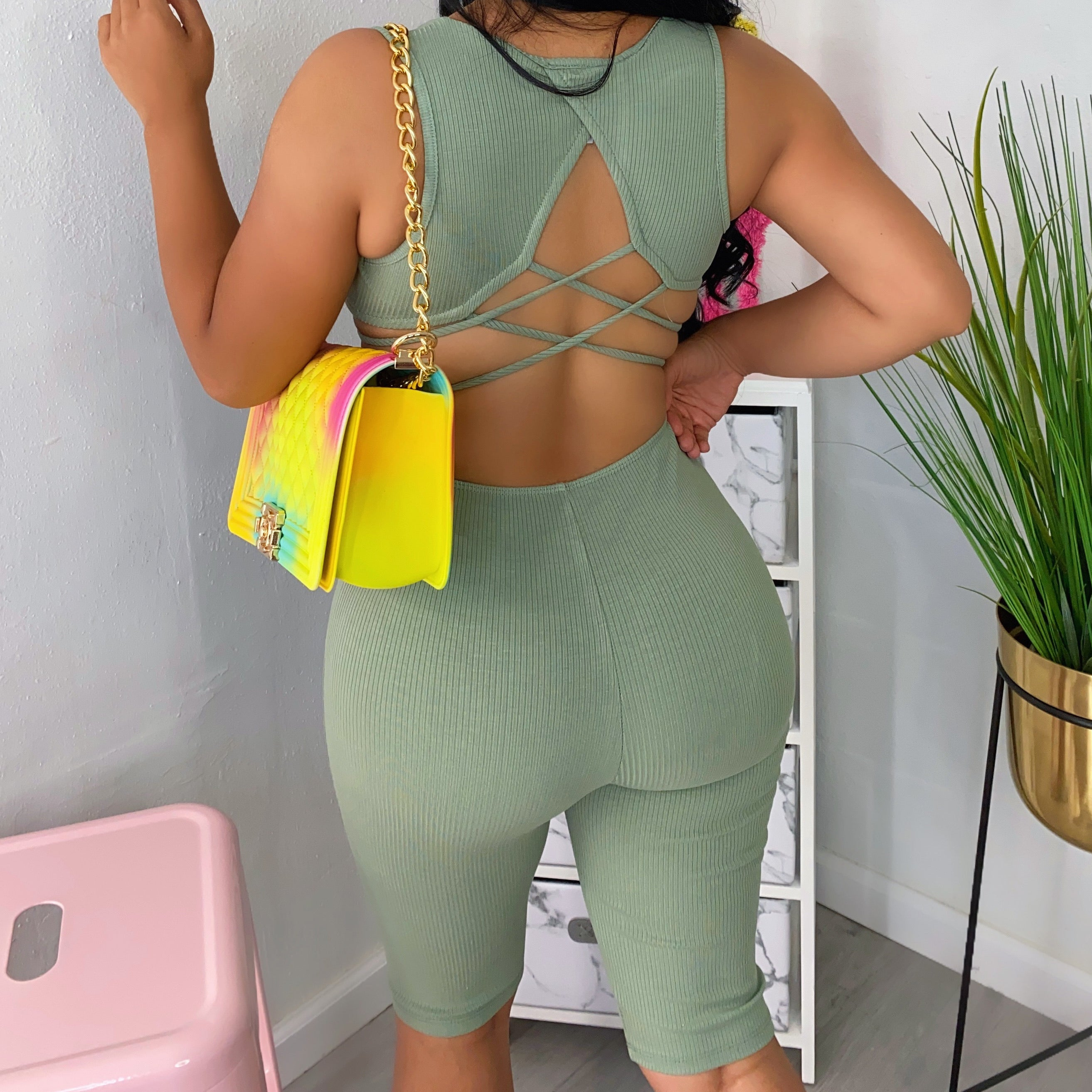 Jade ribbed romper-open back