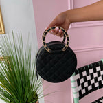 Black round Chantel purse