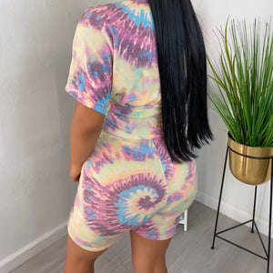 Frida blue tie dye set-Pink