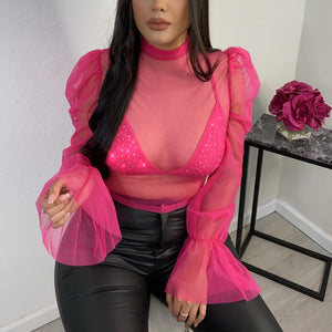 All eyes on me top-hot pink