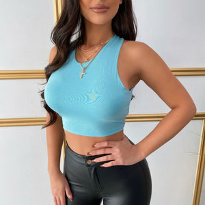 Open back aqua top