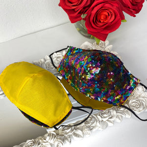 Rainbow sequin Reversible mask with filter