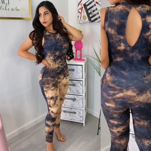 Acid tie dye ribbed jumpsuit