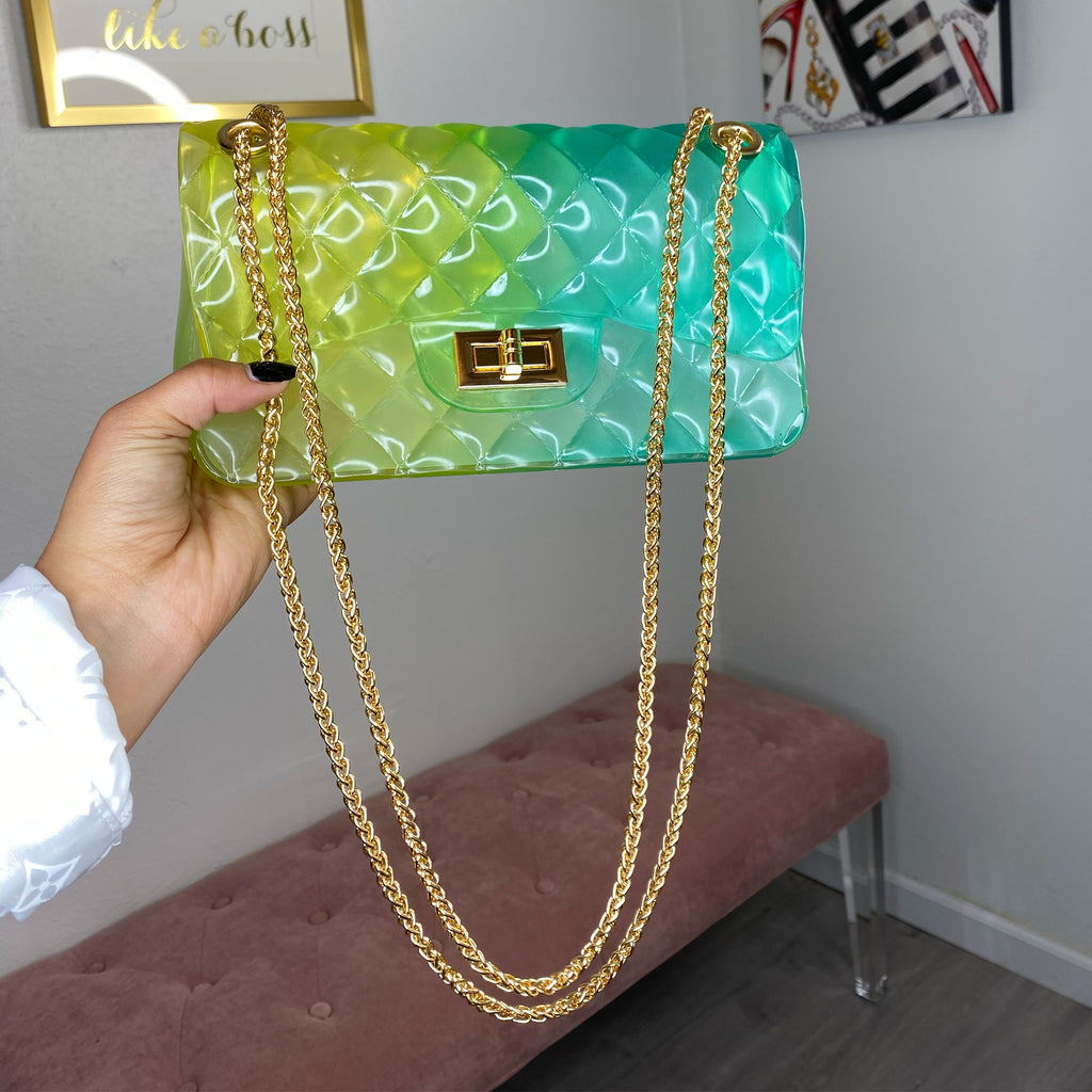 Green/blue jelly purse