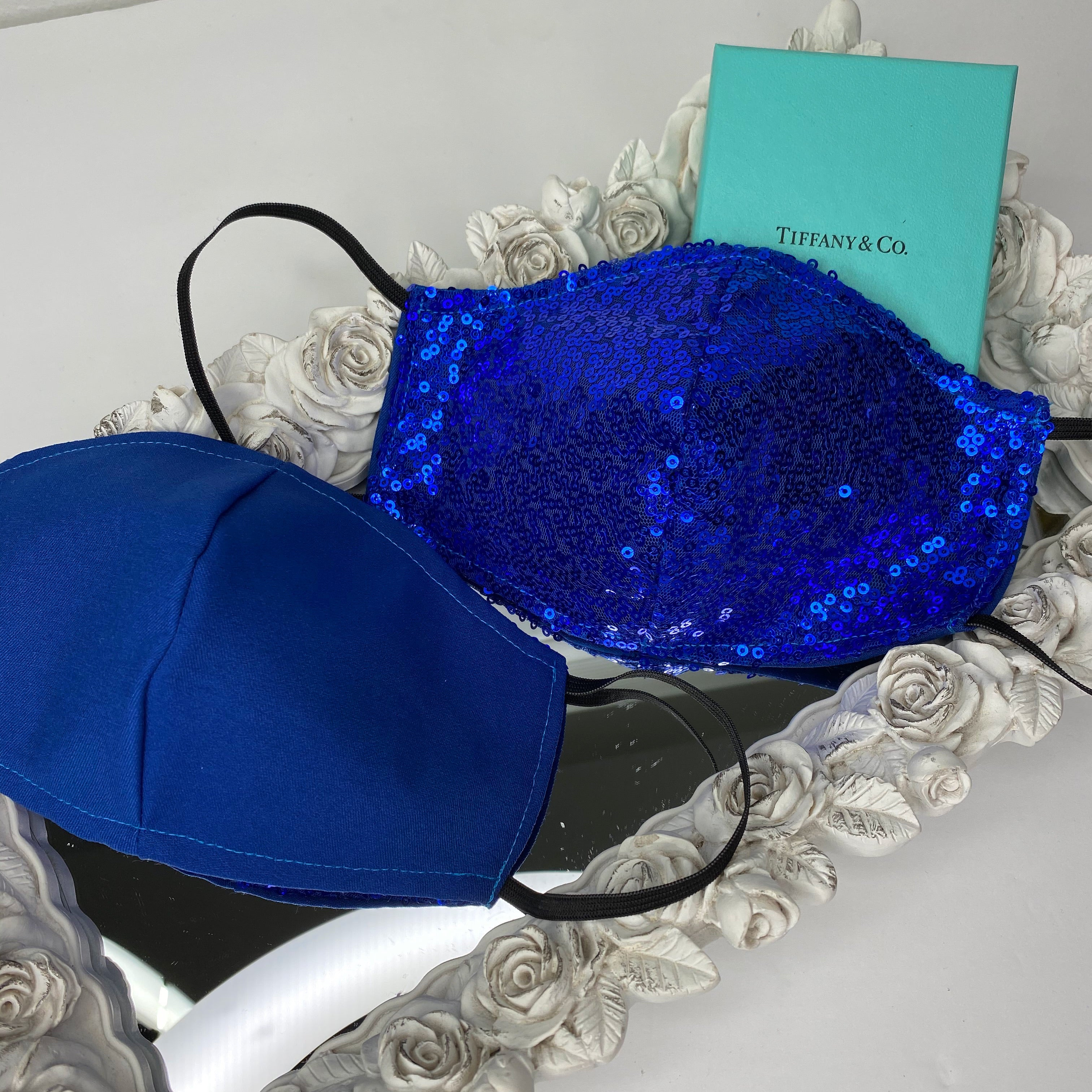 Royal blue sequin Reversible mask with filter