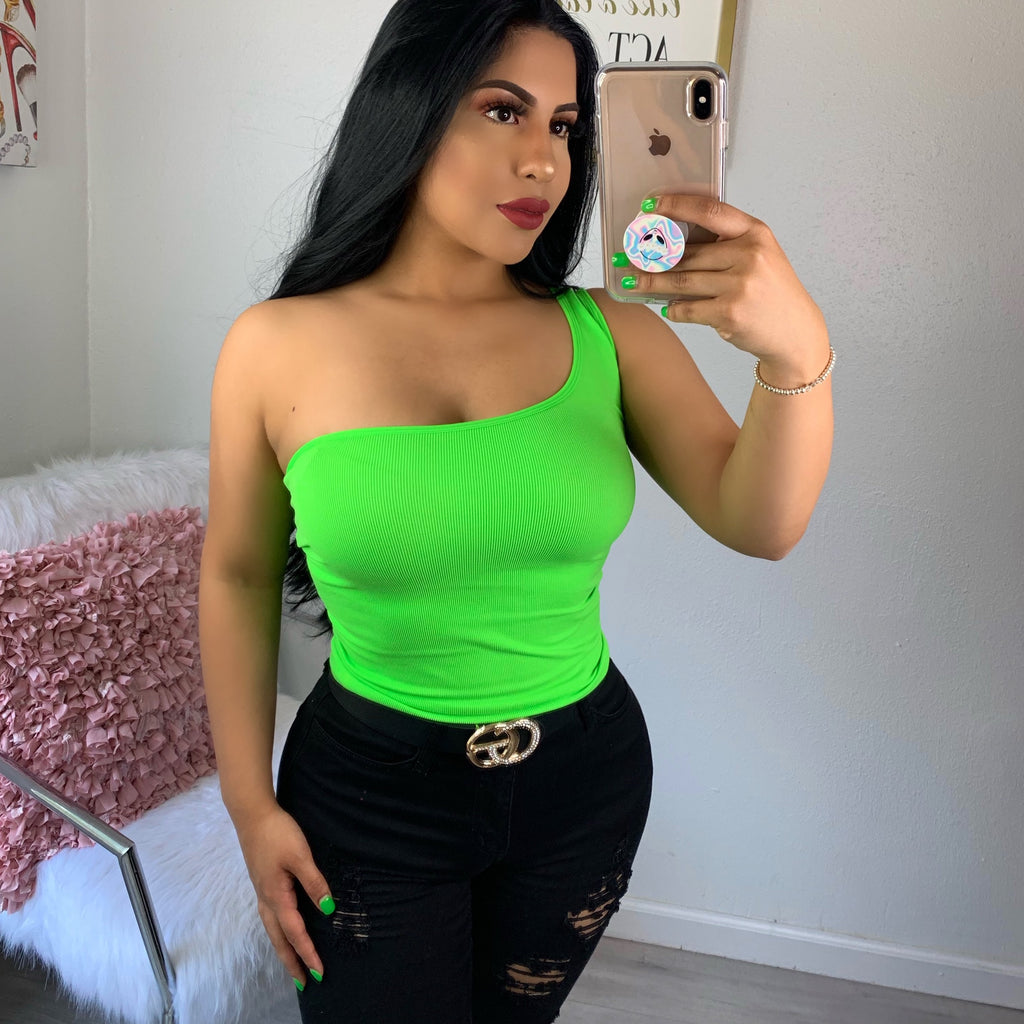 One shoulder top-neon green