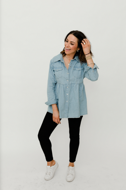 Denim Button Down Babydoll Top