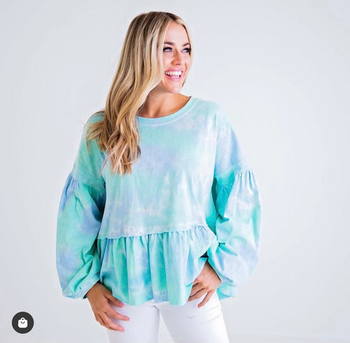 Tie Dye Knit Ruffle Over Sized Top