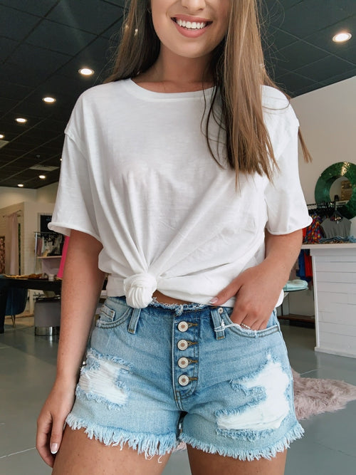 Exposed Button Denim Shorts