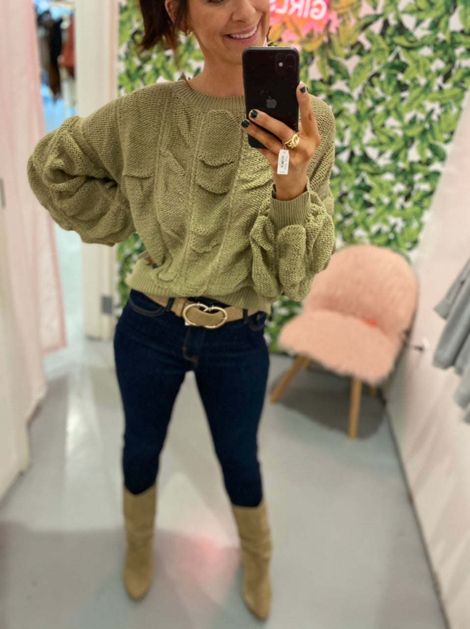Light Olive Shirred Crop Sweater