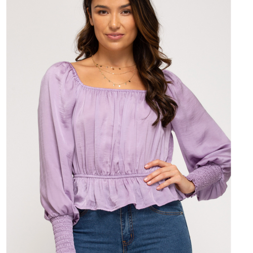 My Girl Lavender Satin Top