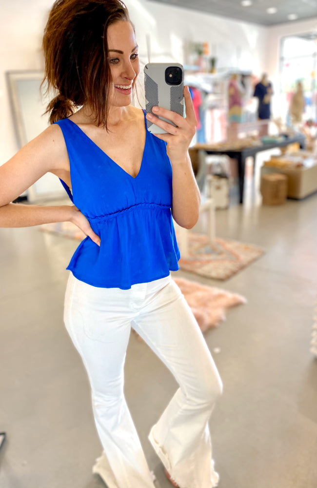 Summer Days Blue Peplum Top