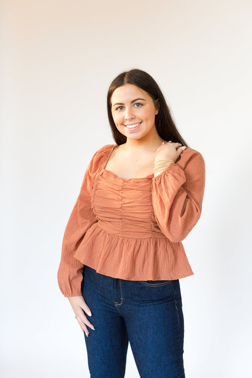 Clay Ruched Long Sleeve Top