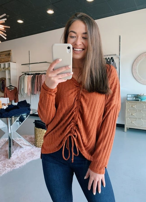 Terracotta Ribbed Long Sleeve Top