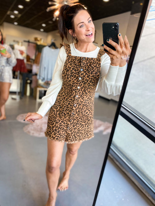 Camel Overall Leopard Dress