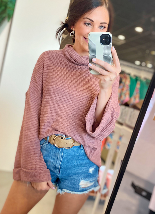 Red Bean Thermal Knit Top