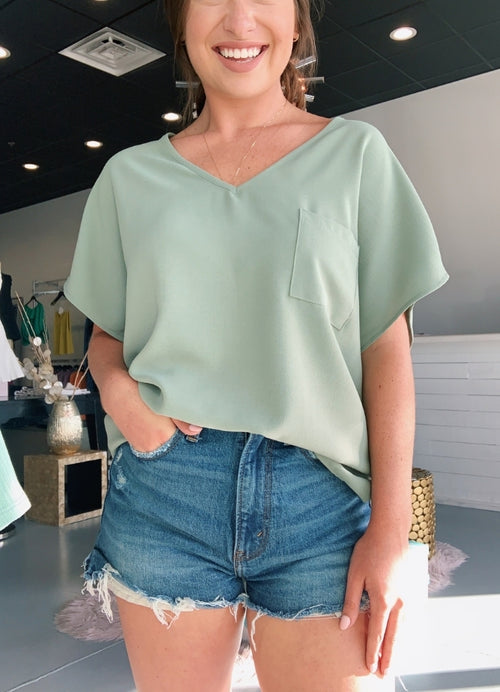 Casual V-Neck Pocket Top