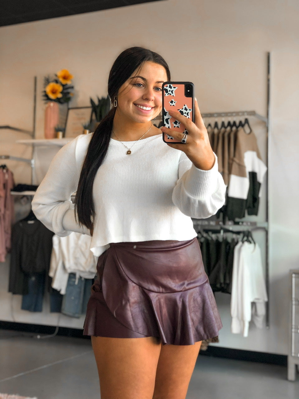Leather Ruffle Mini Skort