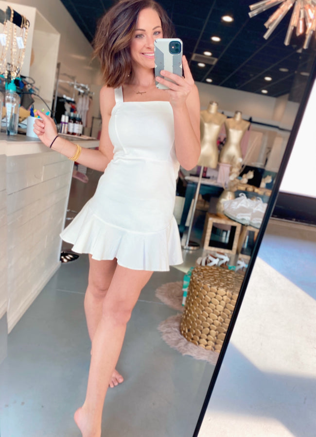 White Denim Ruffle Hem Dress