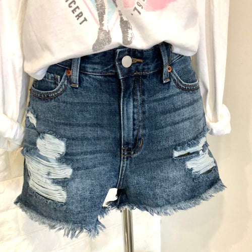 Madison High Rise Non-Stretch Distressed Denim Shorts
