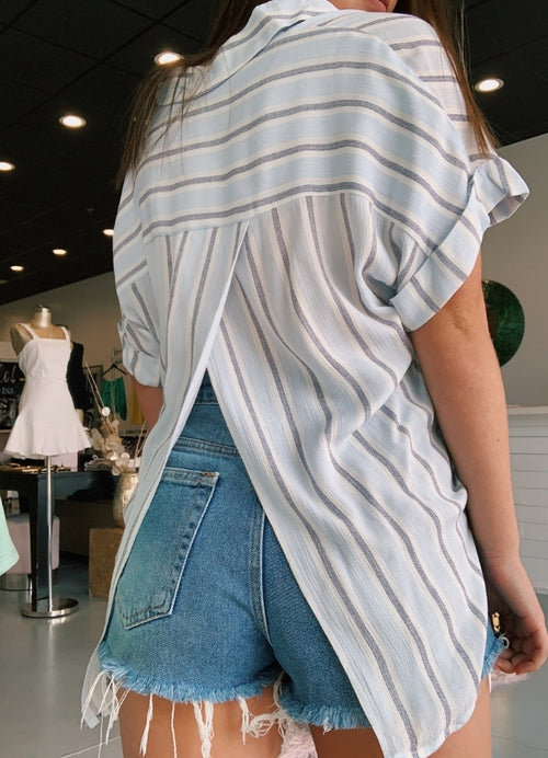 Blue Striped Button Down Blouse