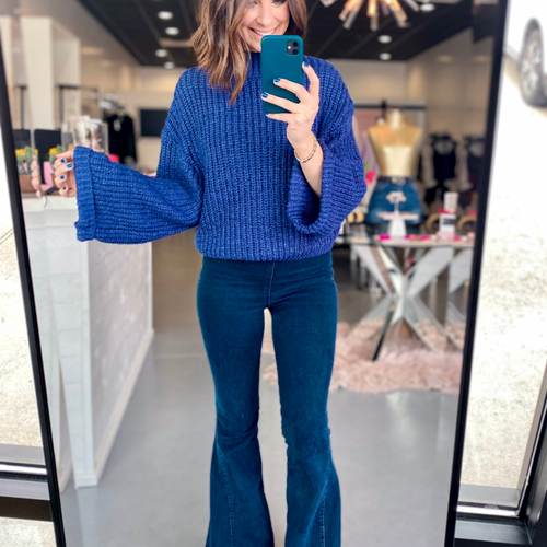 Josie Navy Wide Sleeve Sweater