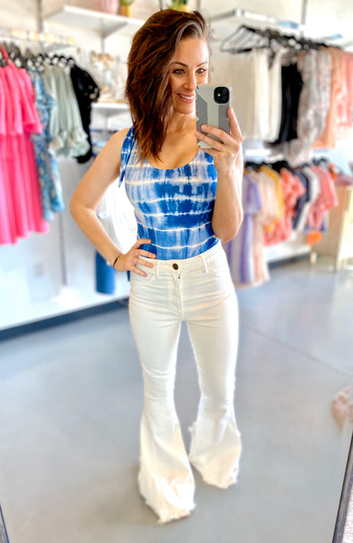 Blue and White Tie Dye Bodysuit