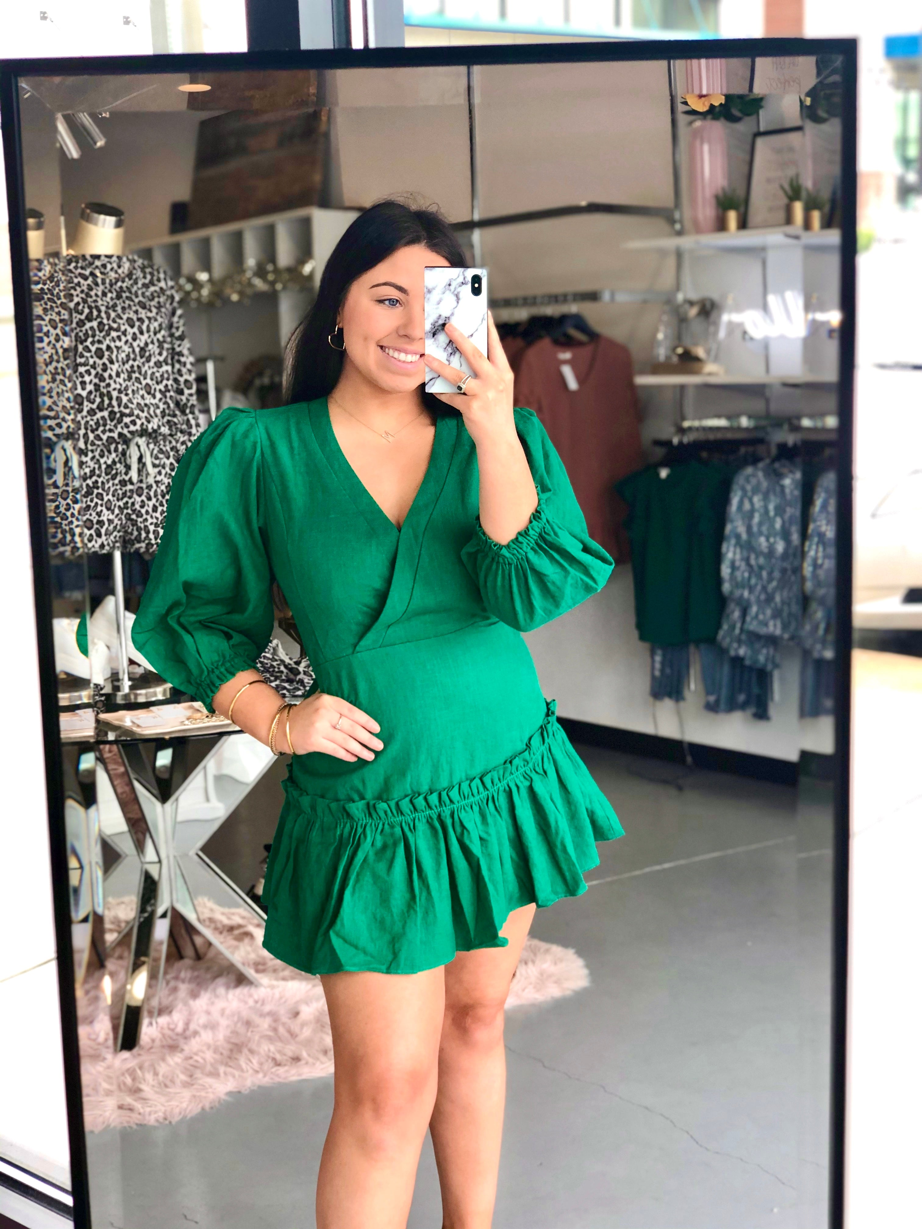 Karlie Emerald Ruffle Dress