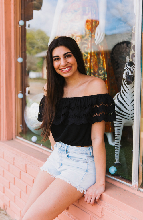 Eyelet Off The Shoulder Black Crop Top