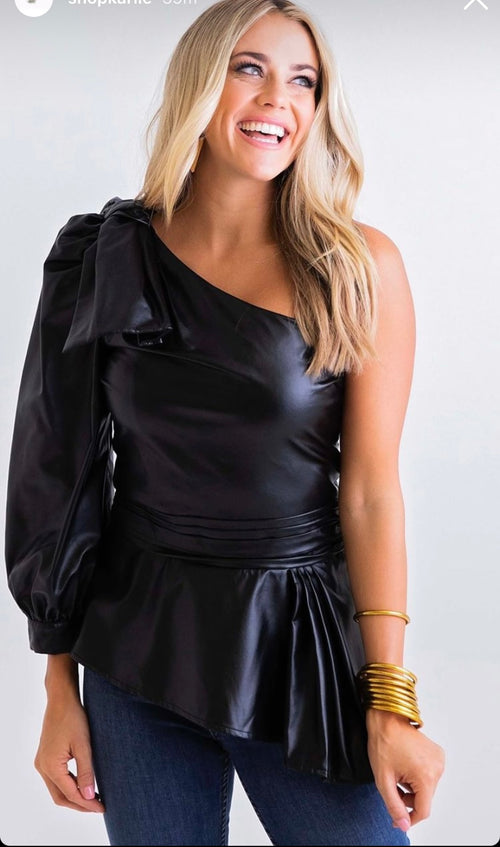Karlie Leather One Shoulder Top