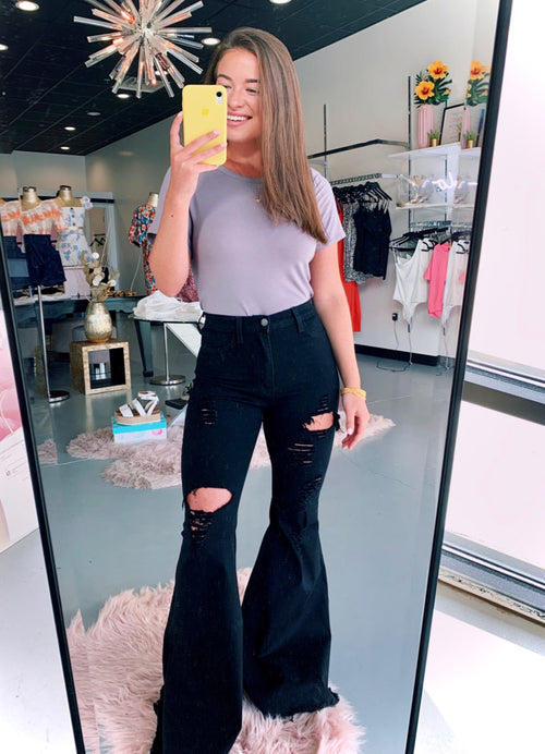Black High Waisted Distressed Flares