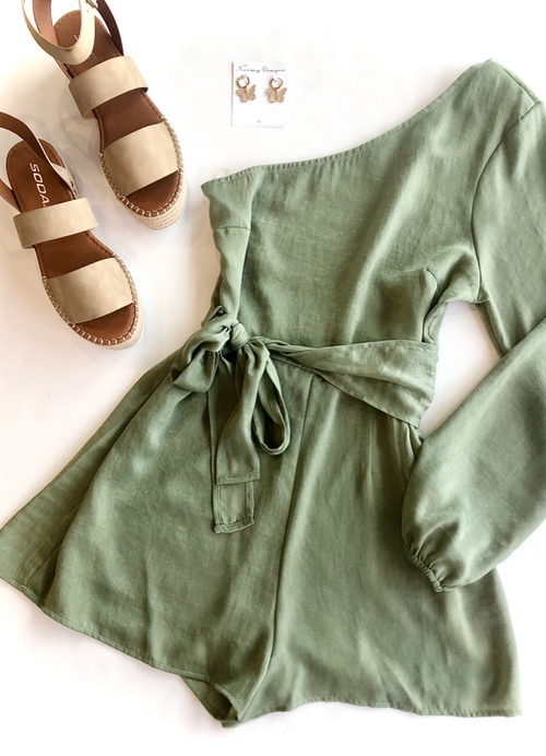 Sage One Shoulder Romper