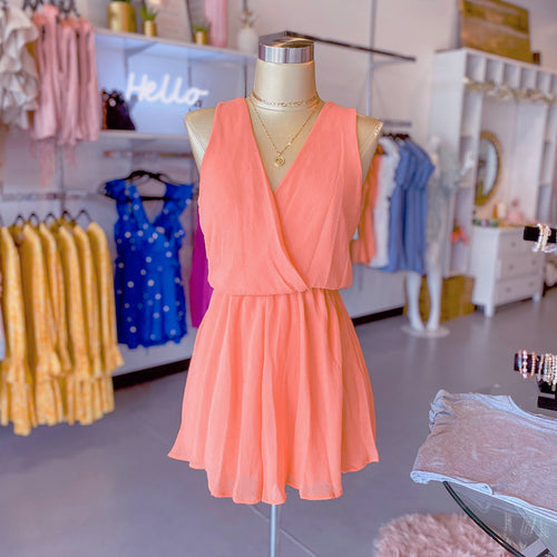 Coral Cross Over V-Neck Romper