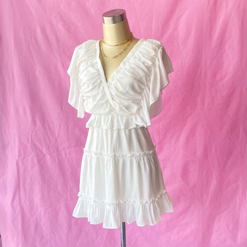 Ruffled Flutter Sleeve V-Neck Dress