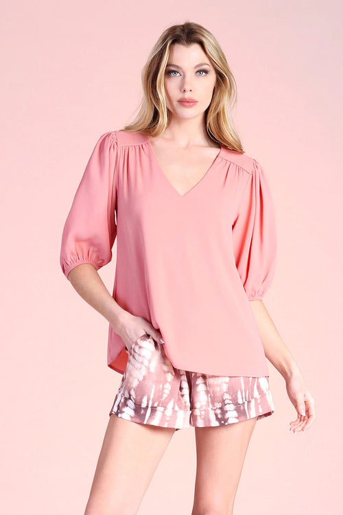 Textured Solid Piped Shoulder Short Sleeve Top