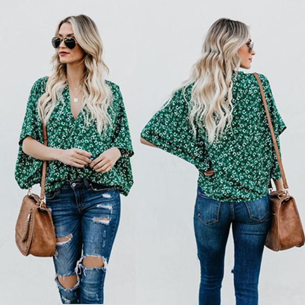 Blusa Floral Batwing