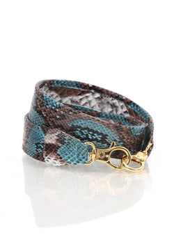 Ombre Python Skin Leather Strap (Blue Aqua)