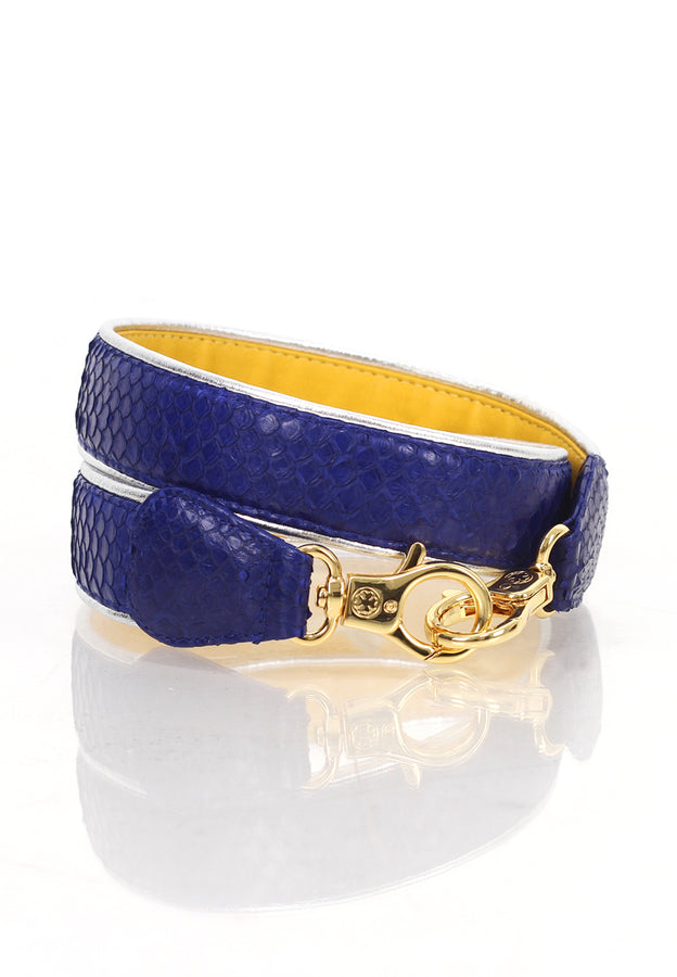Silver Lining Python/Lambskin Leather Strap (Blue Canary)