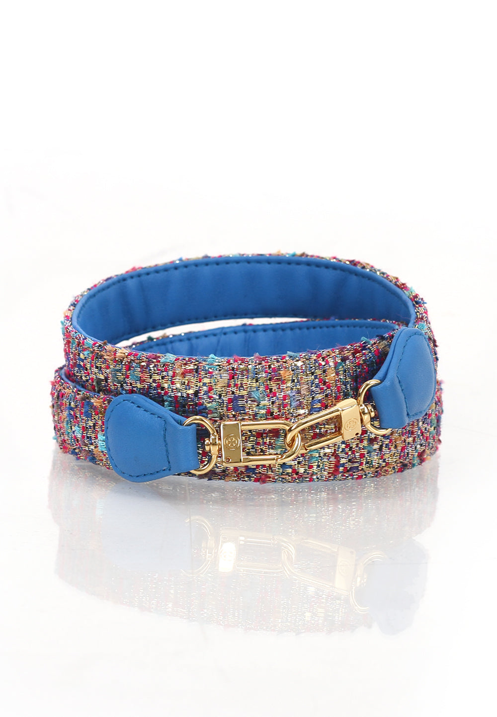 Le-Petit Calfskin Leather Strap (Blue Tweed)