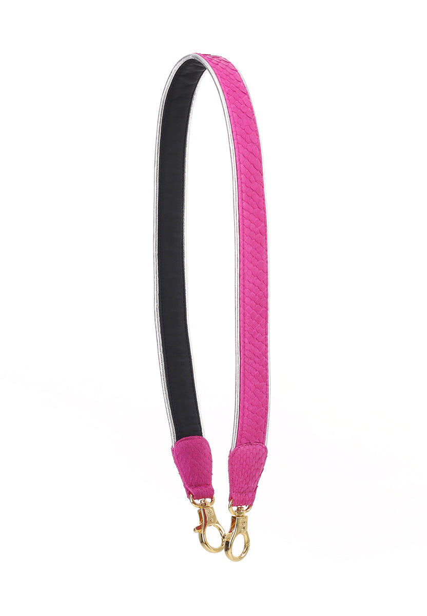 Silver Lining Python/Lambskin Leather Strap (Rose Black)