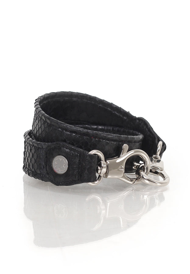 Python Skin Leather Strap (Black)