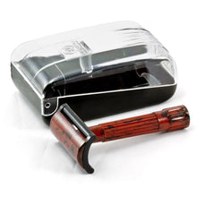 MERKUR BAKELITE DOUBLE EDGE SAFETY RAZOR, SHORT HANDLE, RED/BLACK WITH BOX & 10 BLADES