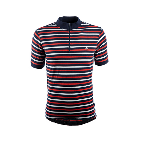Chapeau! Cafe Thin Stripe Jersey - Petrol Blue/Burnt Orange
